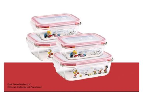 4PCs Peanuts Snoopy X Pyrex Snapware Set Snoopy Kitchenware Glass Containers