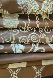 Designer-Jaquard-Fabric-54-wide-sold-by-yard-Chocolate-and-Blue
