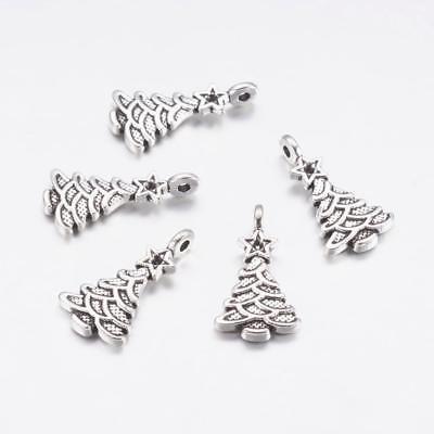 Christmas Tree Charm//Pendant Tibetan Antique Silver 21mm  5 Charms DIY Jewellery