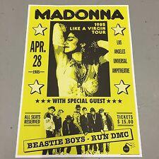 MADONNA + BEASTIE BOYS + RUN DMC - CONCERT POSTER LOS ANGELES 28th APRIL 1985