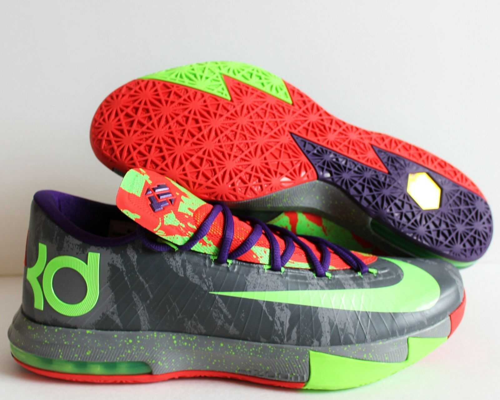 Nike KD VI 6 Energy Electric Green-Bright Crimson-Cool Grey Grey Grey SZ 12 [599424-008] 3ee00c