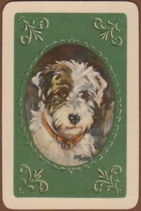 Playing-Cards-1-Single-Card-Old-Vintage-TERRIER-DOG-Art-Painting-LUCY-DAWSON
