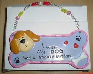 Shabby-Chic-Dog-Plaque-I-WISH-MY-DOG-HAD-A-SNOOZE-BUTTON-Cute
