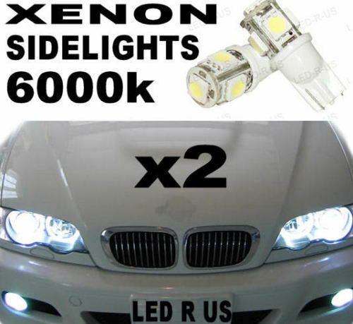 BMW E46 E38 E39 E60 XENON WHITE SIDELIGHT 5 SMD LED BULBS 501 W5W T10