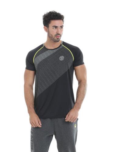 Golds Gym Crew Neck Performance T-Shirt Black//Grey Shirt Sportshirt Gymwear