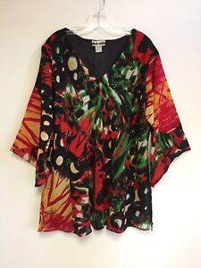 Women-039-s-Printed-Embellished-Polyester-Plus-Size-Tunic-Top-Blouse-1X-amp-3X-NWT