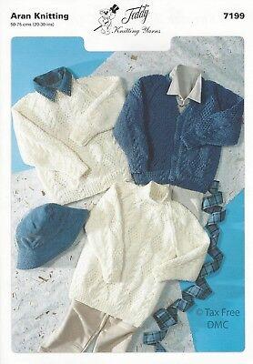 Childrens Aran Sweaters /& Cardigan Pattern 7199