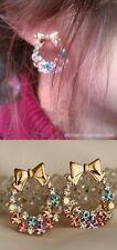 New Fashion Rhinestone Colorfull Crystal Bow Flower Stud Earrings Women Girls