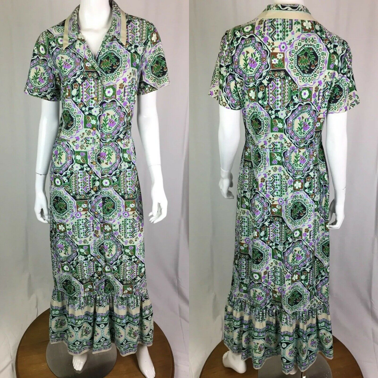 Vintage 70's Berkshire Floral Geometric Button Up Jersey Maxi Flare Shirt Dress