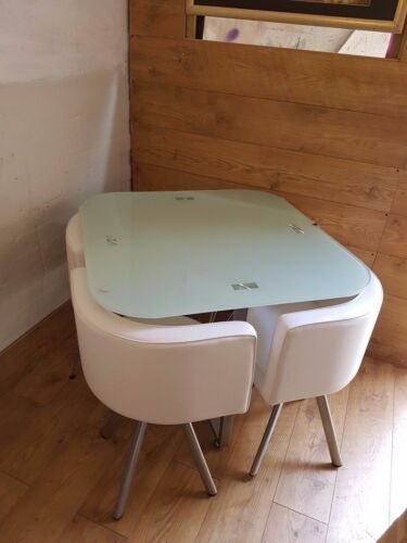 Glass dining table and 4 chairs retro