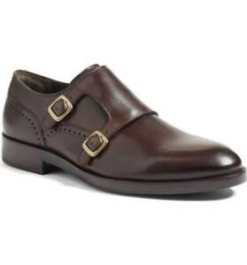 Fait-Main-Homme-Marron-Fonce-Monk-Strap-Robe-Formel-Chaussures-en-cuir