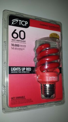 Spiral Color Energy Saver 14 Watts  TCP Light Bulb Red color