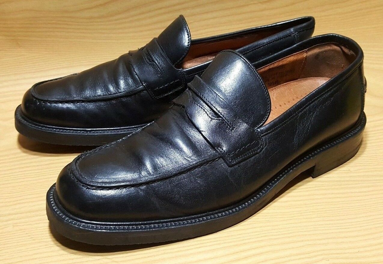 JOHNSTON & MURPHY BLACK LOAFERS 10 MOC TOE LEATHER CASUAL DRESS SHOES