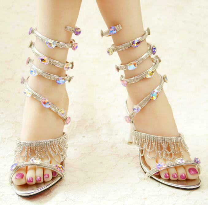 donna Rhinestone Open Toe Sweet Sandals Serpentine Strap Tassels Stiletto Heels