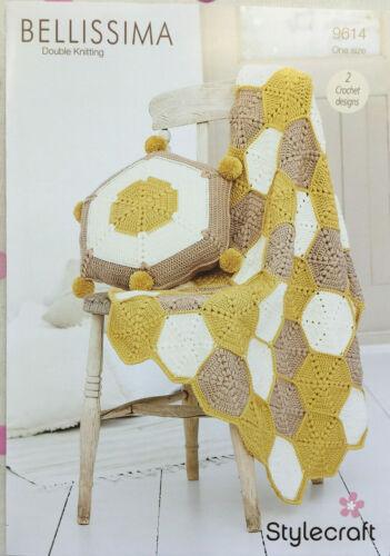 Stylecraft 9614 tricot motif nid d/'abeille couverture et coussin en Bellissima DK