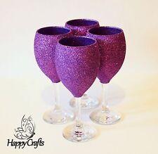 Glitter Top Wine Glasses Set of 4 Purple