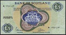 1968 BANK OF SCOTLAND £5 BANKNOTE * A 0650336 * gVF *
