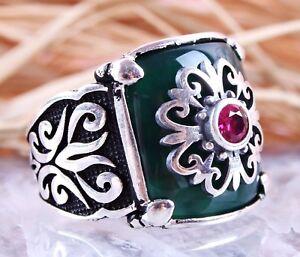 Hearty Turkish Handmade Emerald Sterling Silver 925k Bronz Ring Size Adjustable Gemstone