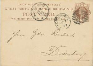 GB-1879-QV-1d-brown-VF-postcard-barred-Duplex-cancel-034-LONDON-E-C-97-034-DUISBURG