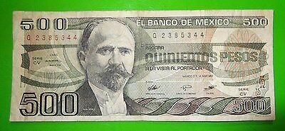 Coins & Paper Money Frank 14mar83 Quinientos Pesos $500 Banco De Mexico Q2385344 Circulated 58