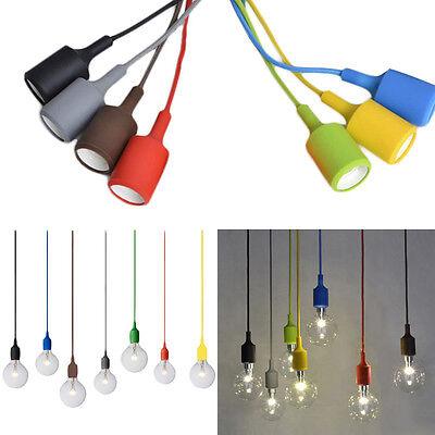 Vintage Candy Color Ceiling Lamp Fixture Pendant Light Bulb DIY Chandelier Decor