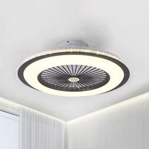 Modern 23 5 W Led Acrylic Dimmable Ceiling Fan 5 Blades Flush Mount Ceiling Fan Ebay
