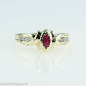 LADY-S-0-50-CT-RUBY-amp-DIAMOND-COCKTAIL-RING-14K-YELLOW-GOLD-SIZE-US7