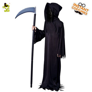 Image is loading Kids-Scary-Devil-Ghost-Costume-Halloween-Black-Zombie-  sc 1 st  eBay & Kids Scary Devil Ghost Costume Halloween Black Zombie Cosplay Suits ...