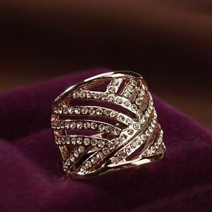 18K-Rose-Gold-Plated-Made-With-Swarovski-Element-Fashion-Hollowed-Out-Ring