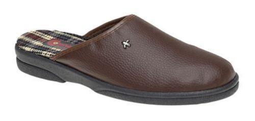 COMFYLUX Homme Taille 7 8 9 10 11 12 Marron En Cuir Synthétique à Enfiler Mule Pantoufle Chaussures