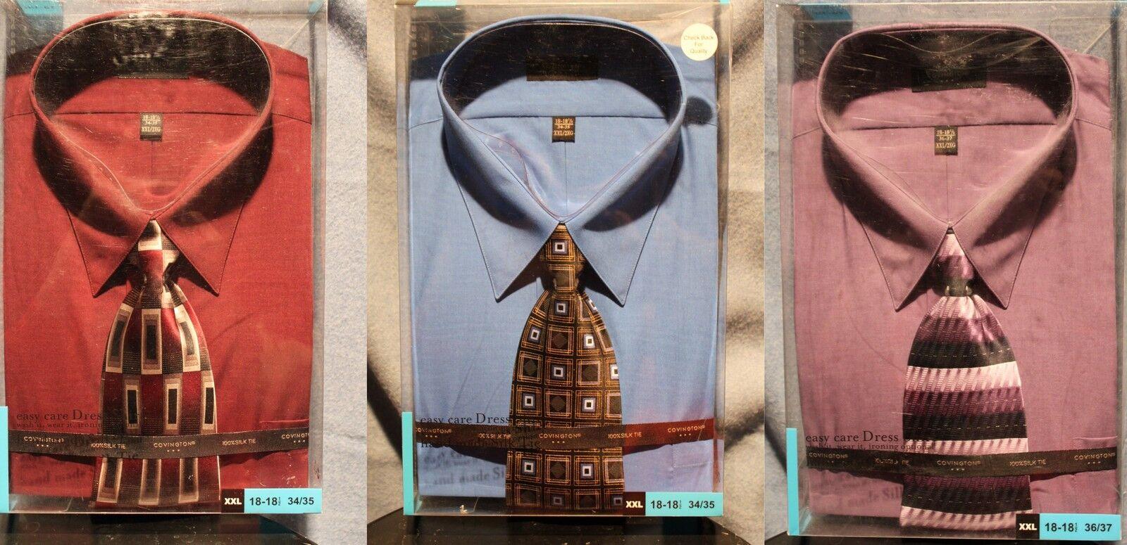3 XXL Herren DRESS SHIRTS & 3 SILK TIES Easy Care Blau Lavender Cotton Blend NEW