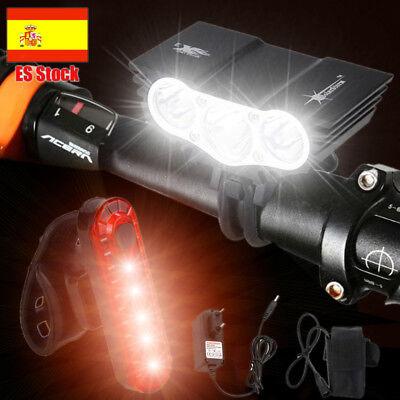 10000LM XM-T6 LED Recargable Frontal Bicicleta Lampara Linterna Faro luz 4*18650