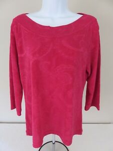 Coldwater-Creek-Women-039-s-Pink-Textured-Long-Sleeve-Pullover-Blouse-Top-Medium