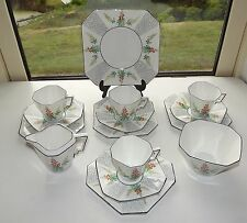 Art Deco CWS Windsor China Hand Enamelled 15 Piece Cups Saucers Plates
