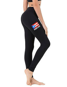 7043ebffb5b87 Women's Puerto Rico Flag Chest Black Yoga Legging Workout Puerto ...