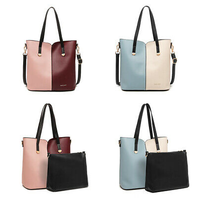 A4 Top New Medium Tote Ladies Shoulder Bag Faux Leather Two Toned Women Handbag