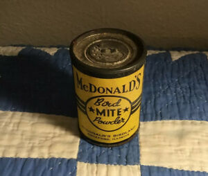 Bird's-Aviary-McDonald's Birdland-Bird Mite Powder-1/2 oz-cb-Rockford,ILL-1940s?