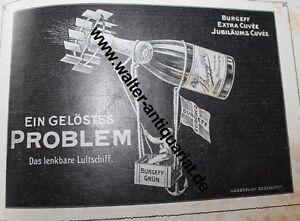 Burgeff-Gruen-Sekt-Chamapgner-Hochheim-Luftschiff-Werbeanzeige-anno-1905-Reklame