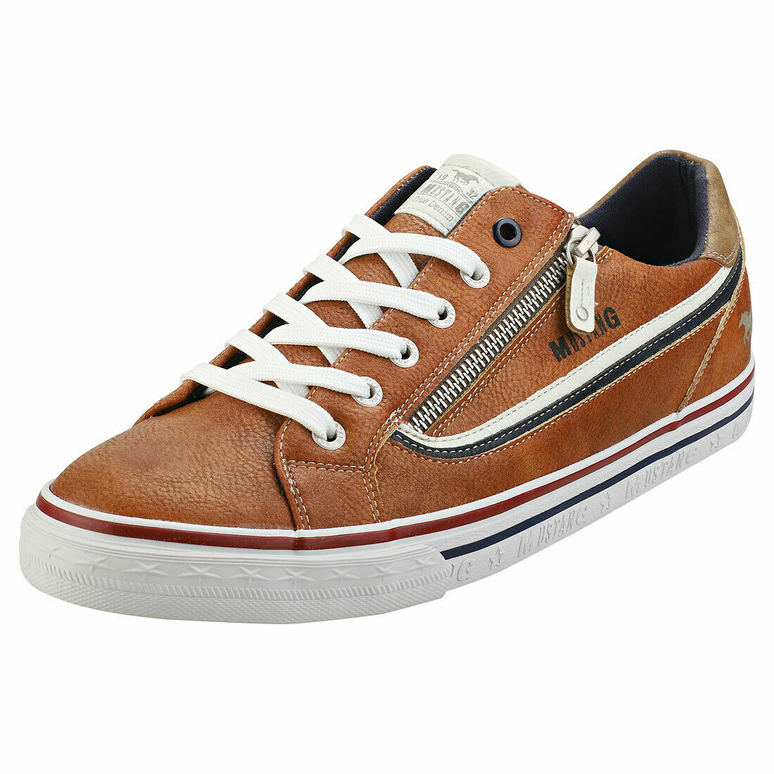 Mustang Lace Up Side Zip Mens Cognac Casual Trainers - 8 UK