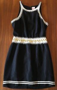 Sass Bide Black White Peek A Boo Silk Line Gold Stud Embroidered Waist Dress 8 Ebay