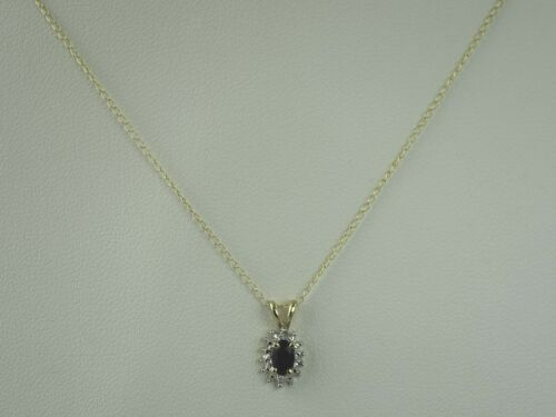 """0.35 CT SAPPHIRE AND 0.02 CTW DIAMOND PENDANT includes 18/"""" Chain 10K GOLD"""