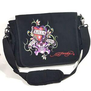 0b435b3481 Ed Hardy Laptop Bag Case Satchel Black Canvas Love Kills Slowly
