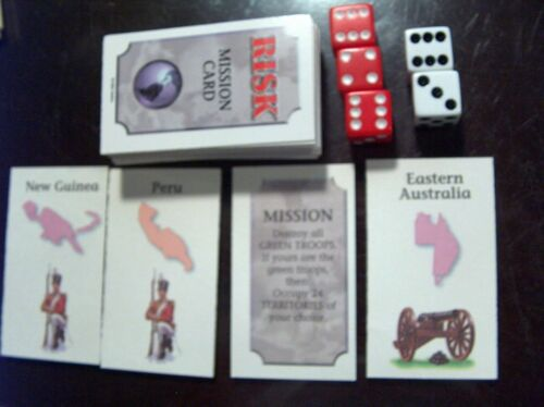 5 Dice 44 Risk /& 12 Mission 1998 RISK Replacement Complete Set of 56 CARDS