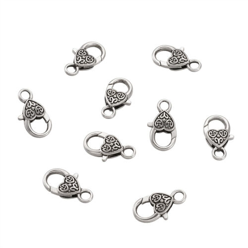 50 pcs Antique Silver Color Nickel Free Tibetan Style Heart Lobster Claw Clasps