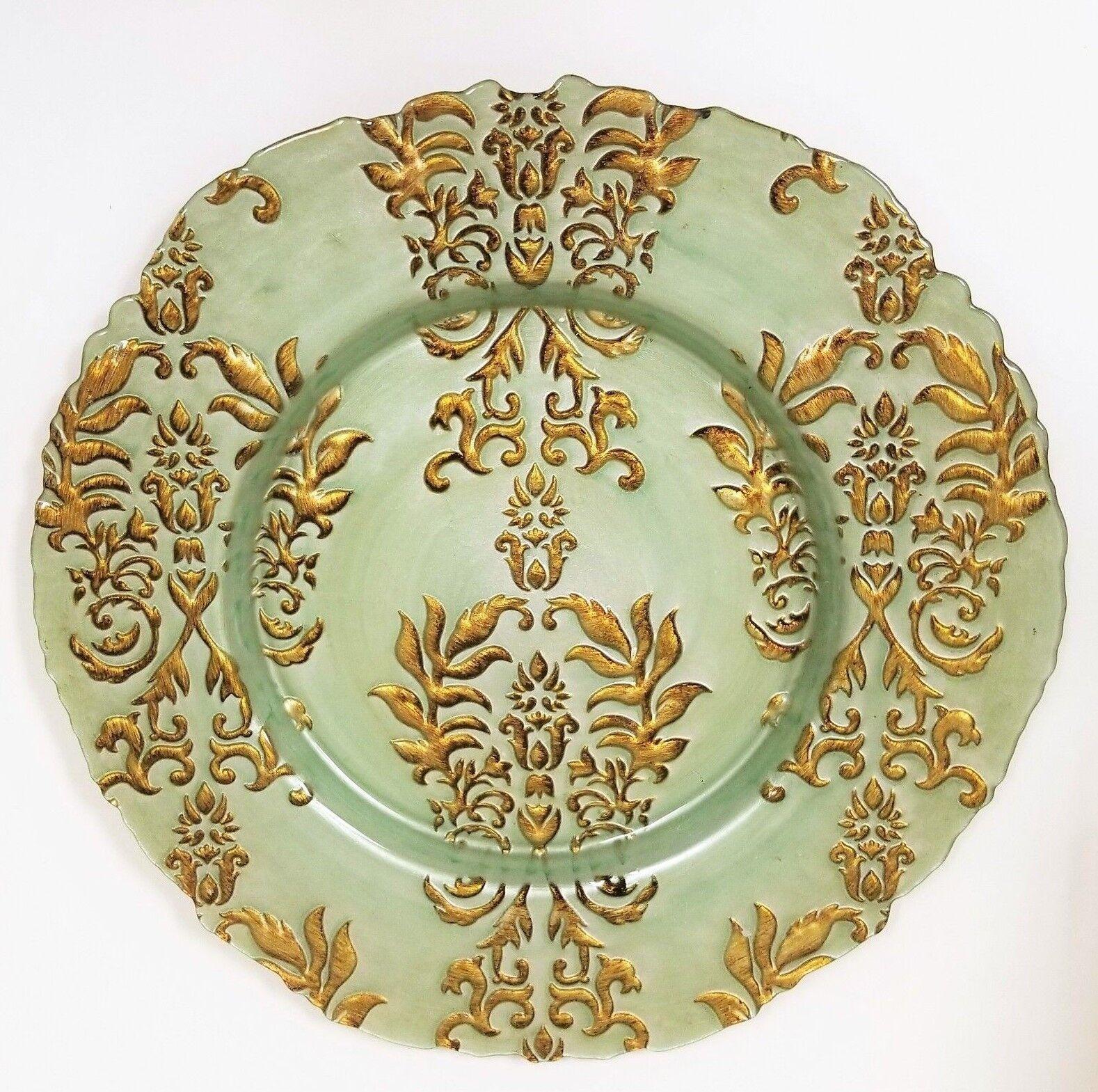 Neuf Vert Menthe + or Ancien Floral 3D Forgé Verre Plaque Décorative, Plateau