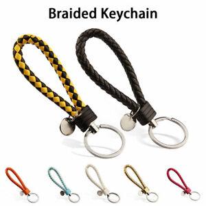 Braided-Faux-Leather-Strap-Keyring-Keychain-Car-Key-Chain-Ring-Key-Fob-22-Color