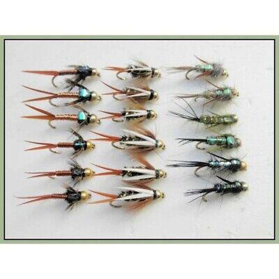 Mixed 10//12//14 Fishing Flies 6 Gold head Copper John Copper John Trout Fly