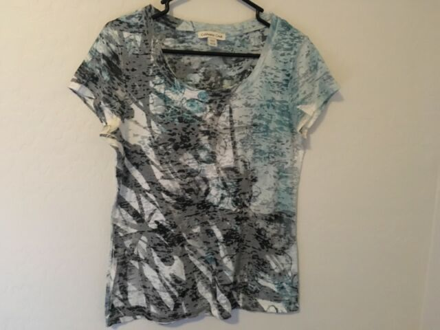 EUC COLDwater CREEK SIZE S (6-8) blue grey white designer T-shirt so pretty