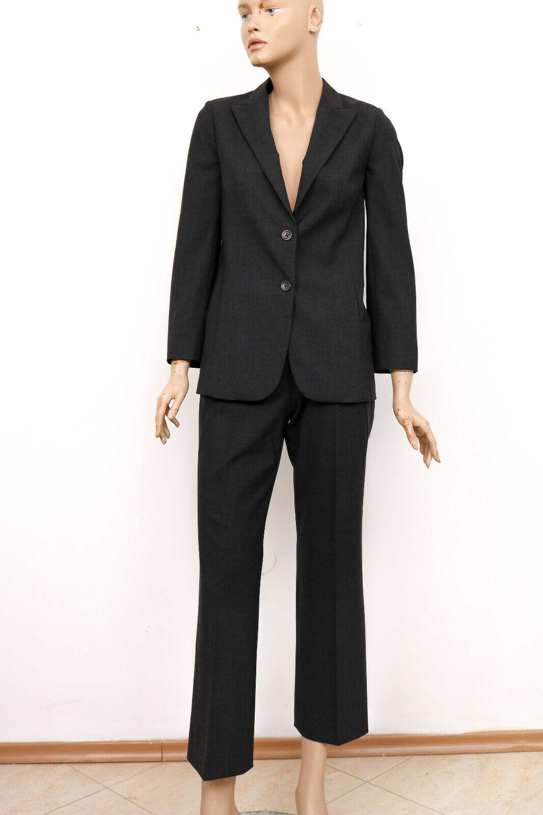 Damen Kostüm JIL SANDER Grau Schurwolle zweiteiliger Anzug Gr. 36 Jacke + Hose