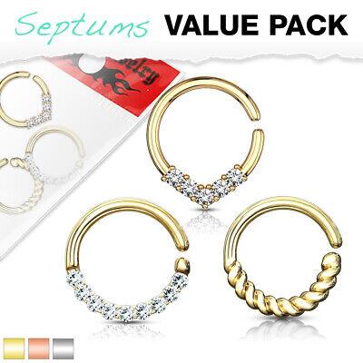 Opal Platinum Plated Filigree Bendable Cartilage Hoop Septum Nose Ring 16G